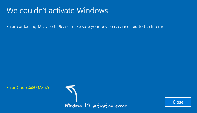 fix Activation Error in Windows 10