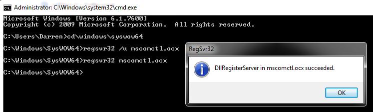 Regsvr32 mscomctl.ocx