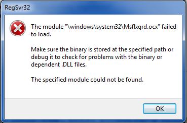 Runtime error 339 - MSFLXGRD.OCX